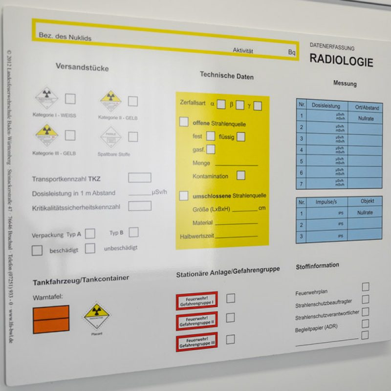 Tafel Radiologie (© 2012 Landesfeuerwehrschule Baden-Württemberg)