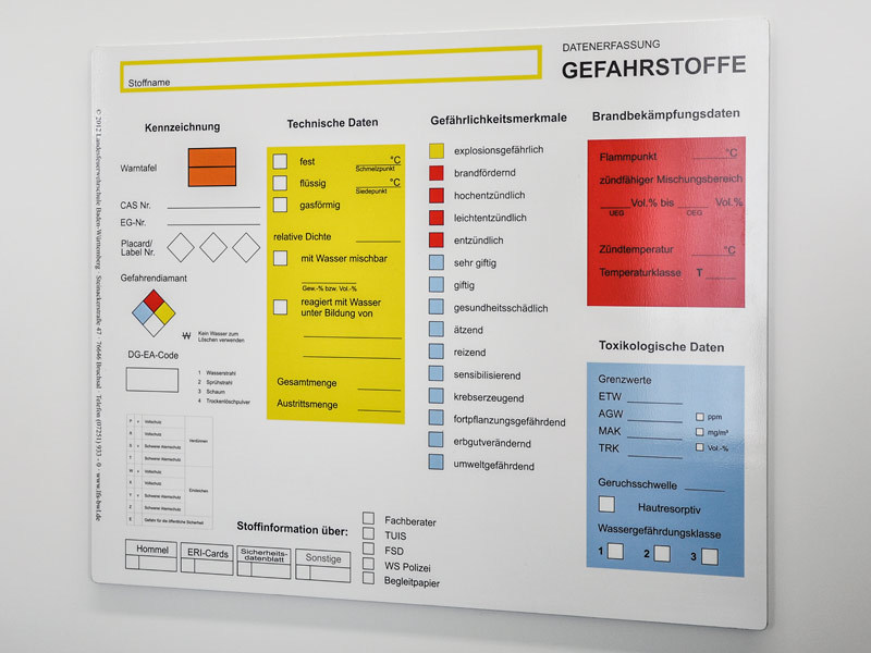 Tafel Gefahrstoffe (© 2012 Landesfeuerwehrschule Baden-Württemberg)