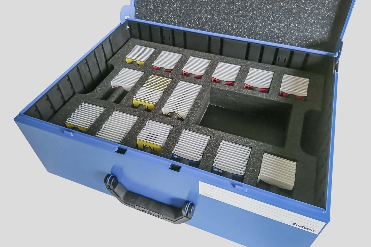 """Einsatzkoffer """"Vario"""" im Sortimo Metallkoffer, Kundenmaterial - taktische Zeichen mit Kippeffekt"""
