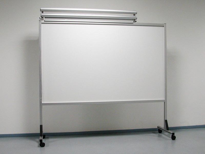 Fahrbare Tafel starr mit Planungsfolienrollos, klappbar