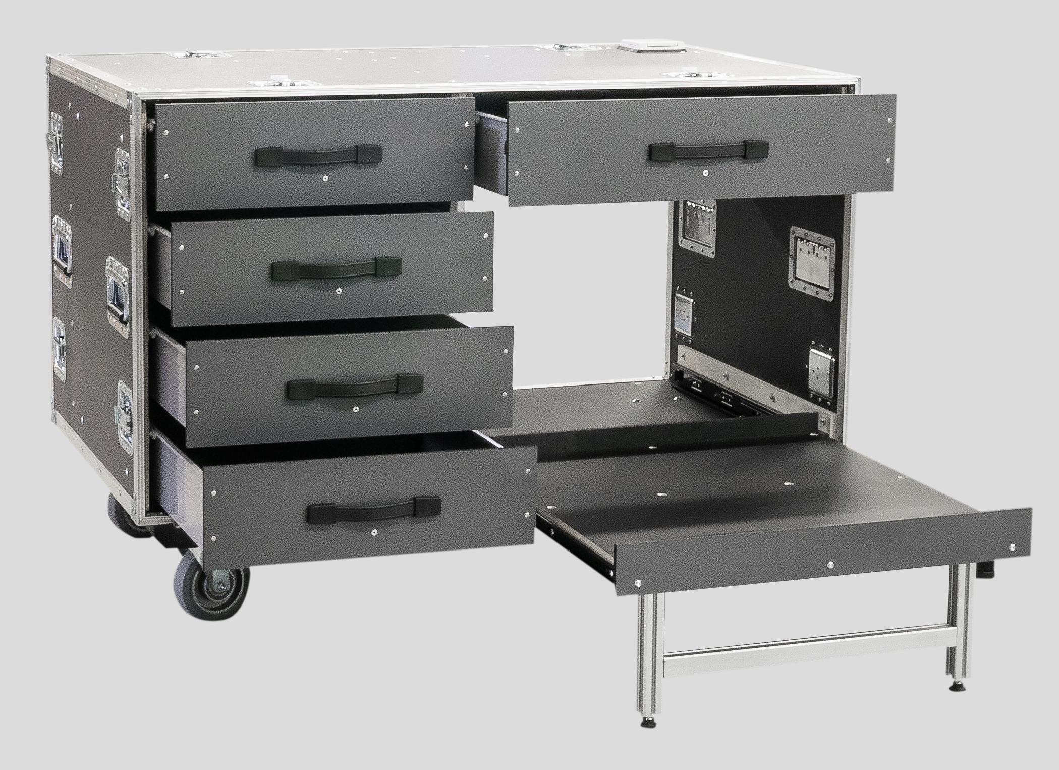 Büro-Rollcontainer ausziehbare Fächer, rechtes Fach für A3 Drucker