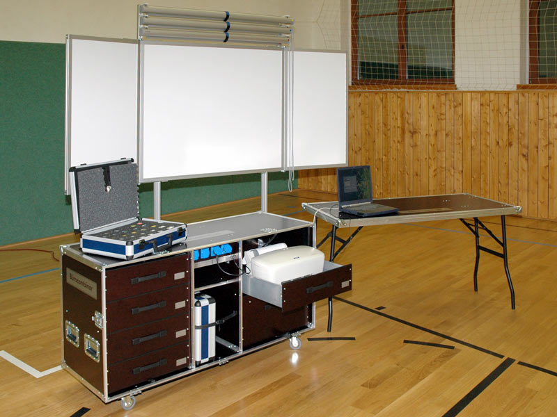 Büro-Rollcontainer, fahrbare Klapptafel, Planungsfolienrollos
