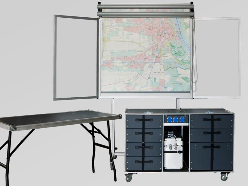Büro-Rollcontainer, fahrbare Klapptafel, Rollkarte und Planungsfolienrollo